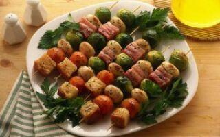 Шашлычки на шпажках из овощей