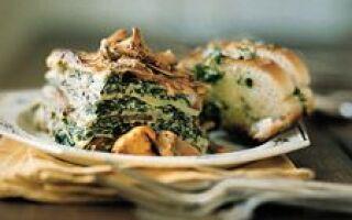 Лазанья с грибами и картофелем