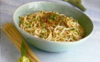 Cпагетти с цветками тыквы