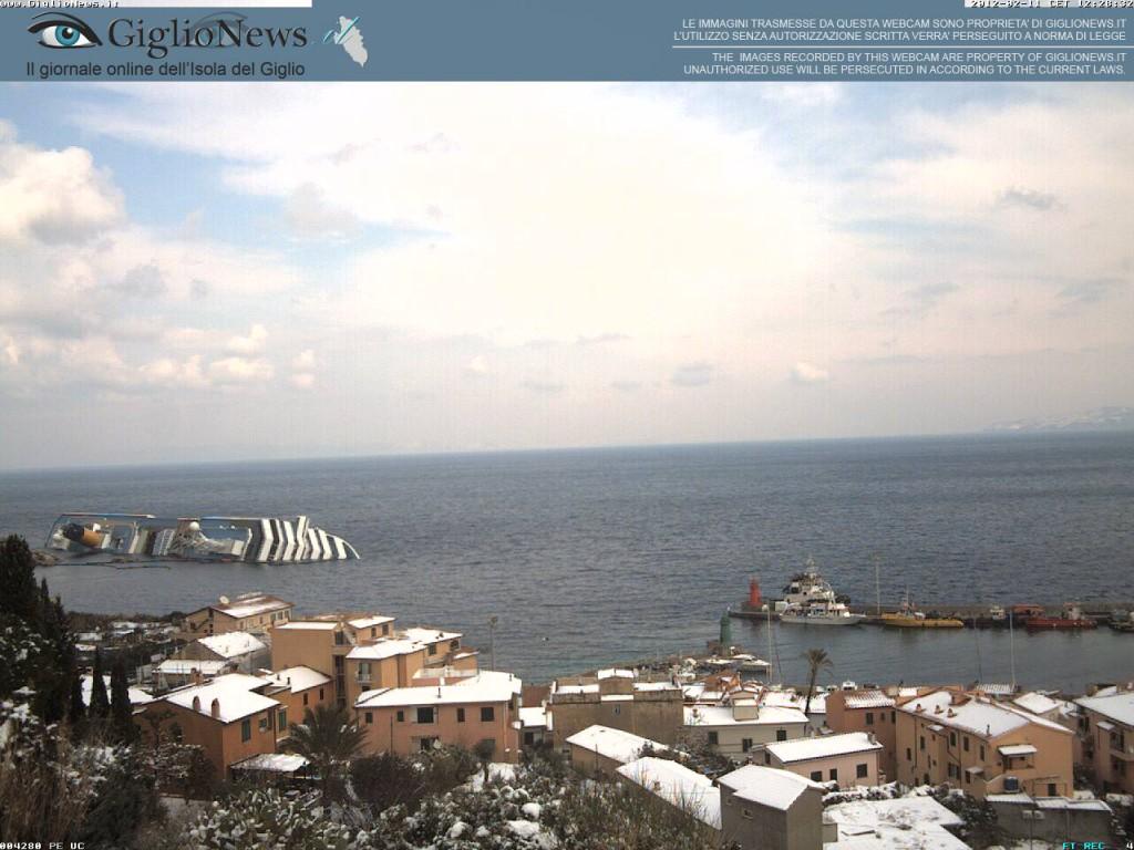 остров Джильо под снегом