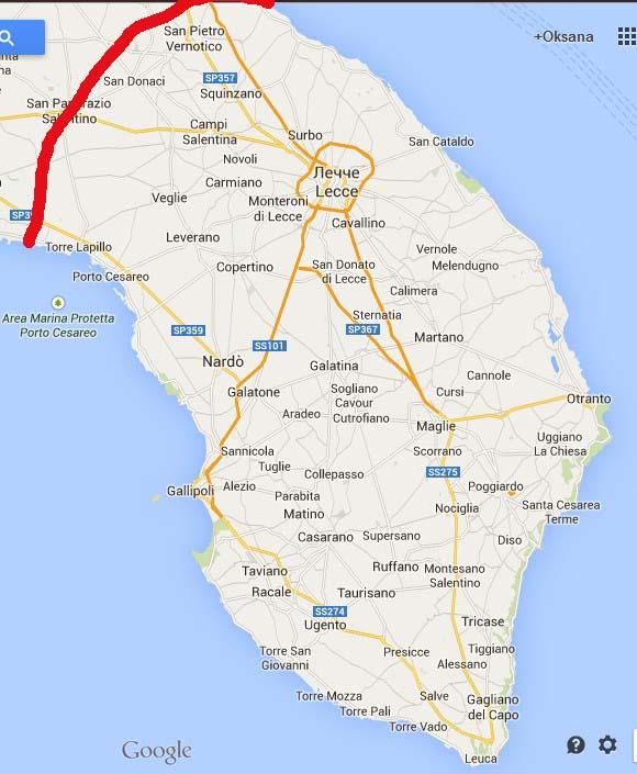 Итальянский каблук - карта побережья Саленто